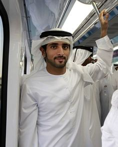 Crown Prince Hamdan of Dubai, seen here riding the Dubai Metro, is a keen sports fan.