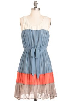 Featuring the fresh hues of the ocean at sunset - cloud white, water blue, twilight orange, and dusk taupe - this accordion-pleated tank dress comes with a detachable sash for wowing waist cinching and boasts a back keyhole for extra flirty flair. Wear this fully lined frock with sea foam flats, a boat-printed cardi, and a woven purse for fetching fashion that will make a splash at any occasion.