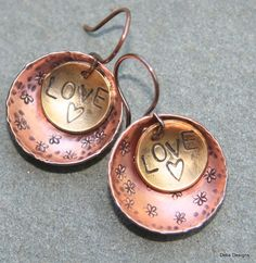 Metalwork Copper and  brass hand formed earrings by debsdesigns401, $20.00