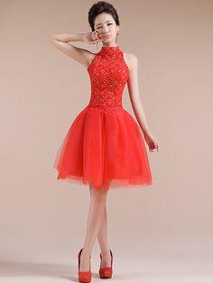 Red Short Tiered Qipao / Cheongsam / Bridesmaid Wedding Dress