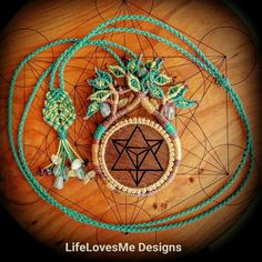 LifeLovesMe Designs. Micro macrame tree necklace with walnut wood merkaba pendant with blue apatite, citrine and garnet beads. Approx 6hrs to create. Made in Coolum Beach, Australia. See instagram.com/ilovelife.n.lifelovesme or etsy.com.au/shop/LifeLovesMe