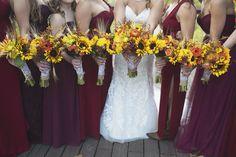 Adventures on the Gorge Destination Wedding | Maroon + Orange Wedding | Orange and yellow sunflower bouquets