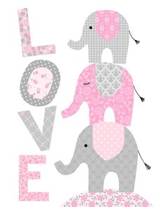 Baby Room Art, Baby Art, Girl Room, Elephant Wall Art, Elephant Nursery, Pink Elephant, Pink Color Chart, Elephant Template, Baby Girl Cards