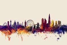 Trademark Global Michael Tompsett 'London England Skyline Blue' Canvas Art - 30 x 47 Blue Canvas Art, London Tattoo, London Skyline Tattoo, London Tours, Skyline Art, Arte Pop, Artist Canvas, Beach Day, London England