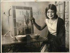 1935 Press Photo Lucy Sanchez Mexican Tile Artist