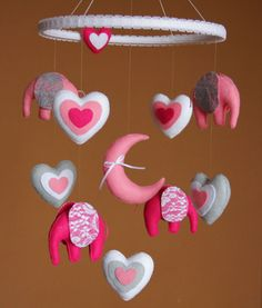 Baby mobile Elephant mobile Baby girl mobile  by FeltBabyCorner