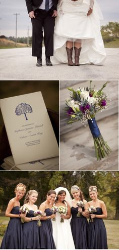 bridesmaids' bouquet of white roses, lisianthus, wax & blue thistle - with navy dresses - love it!  Ahah! My plum anchor color!