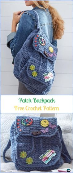 Crochet Patch Backpack Free Pattern -Crochet Backpack Free Patterns Adult Version Source by haliden Crochet Backpack Pattern, Crochet Drawstring Bag, Mochila Crochet, Bag Crochet, Crochet Shell Stitch, Bag Pattern Free, Crochet Diy, Crochet Handbags, Crochet Purses