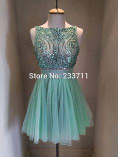 Ball Gown Mini Short Mint Green Tull Beaded Cocktail Dresses 2017 Vestido Social Curto Short Party Dresses 51195