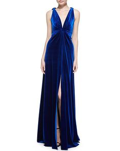 NMF15_T8YS7 Marc Bouwer Sleeveless Velvet Twisted-Straps Gown