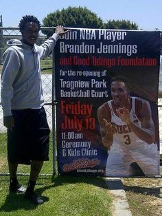 Brandon Jennings refurbishes Tragniew Park in Compton, CA Brandon Jennings, Cali Style, Milwaukee Bucks, Basketball Court, Baseball Cards, Park, Kids, Young Children, Boys