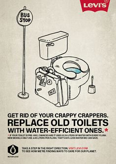 Levis Water-Less, Water saving tips (Tia Grazette, 2010). Illustration by Johnny Lighthands.