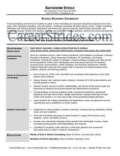 professional school counselor resume school guidance counselor resume sample example