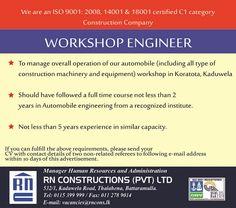 Workshop Engineer at RN Construction Engineering Jobs, Construction Types, Career, Workshop, Carrera, Atelier, Work Shop Garage