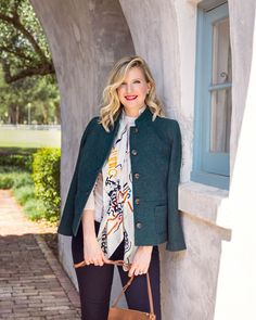 Just in time for fall weather, Ashley Brooke pairs her scarf with a colorful blazer for a perfectly polished look. Shop the scarf collection: of net proceeds from these scarves directly benefit National Breast Cancer Foundation! Susan G Komen, Ashley Brooke, Fall Weather, Polished Look, Wool Dress, Colored Blazer, Breast Cancer Awareness, Talbots