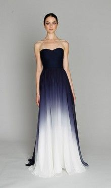 Monique Lhuillier gown in navy ombre