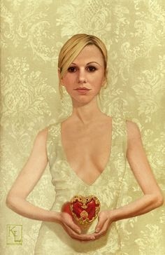 """""""Heart of Glass and Gold"""" - Kris Lewis {contemporary artist figurative blond woman décolletage painting}"""