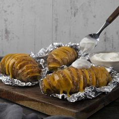 Grilled Hasselback Potatoes with Tillamook Sharp Cheddar Slices Cheese Recipes, Potato Recipes, Dairy Co, Fire Grill, Hasselback Potatoes, Grilling Recipes, Cheddar, Entrees, Rice