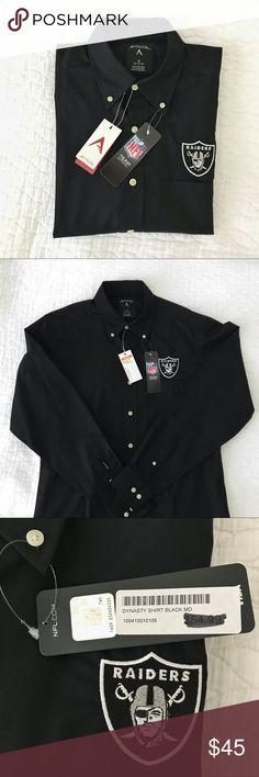Official NFL Oakland Raiders Dress Shirt Official NFL Oakland Raiders Dress Shirt. Long sleeve button up shirt with a pocket on the left side. Antigua Shirts Dress Shirts