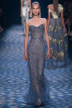 Marchesa Spring 2017 Ready-to-Wear: Exquisite ice blue embellished fitted gown! I love the earrings!