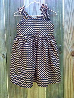 Black and gold chevron SAINTS dress $40 by smallhabit https://www.facebook.com/smallhabit
