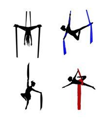 Illustration of silk aerial dancers vector art, clipart and stock vectors. Aerial Acrobatics, Aerial Dance, Aerial Silks, Aerial Yoga, Pole Dance, Dance Nyc, Aerial Gymnastics, Silk Dancing, Aerial Costume