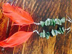 Greenstone & feather earrings #diy Feather Earrings, Jewellery, Plants, Diy, Jewels, Bricolage, Schmuck, Do It Yourself, Plant