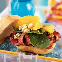 Grilled flank steak with oranges and blue cheese combine in a sandwich that will…