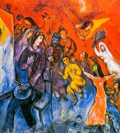 """The appearance of the artist's family,"", 1947 (Chagall was 60 years old). Next to the shoulder of the painter are recognizable the parents: his father,  with the Torah scrolls in hand, and  the mother, also with hand on heart."