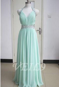 New Chiffon Halter bridesmaid Tiffany Blue prom dress by VEIL9