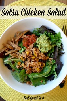 This salsa chicken salad is delicious, filling, high in fiber and protein, and low in calories! Feel Great in 8 #easy #dinner #chicken