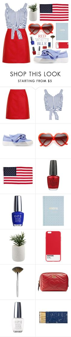 """Fourth of July!"" by verenagyuneth ❤ liked on Polyvore featuring Topshop, WithChic, Joshua's, OPI, Case Scenario, Trish McEvoy, Gucci, Jayson Home and fourthofjuly"