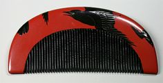 In Japan, they loved ravens. The Meiji style has the drawing fold over to the back of the kushi.