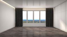 Ilustração: interior with large window. 3d illustration