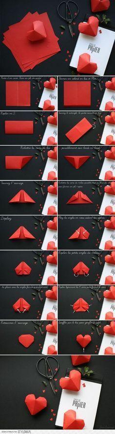 Gestalte ein Herz, dies geht auch mit Papier. 182Grad