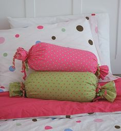 """wrapped candy"" pillows i'm going to make!"