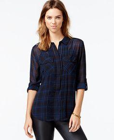 Sanctuary Plaid Pleated Paris Shirt - Tops - Women - Macy's