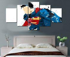 5 Piece Multi Panel Modern Home Decor Framed Superman Super Hero Wall Canvas Art - Octo Treasures - 1 Canvas Artwork, Canvas Frame, Canvas Wall Art, Canvas Size, Superman Poster, Superman Stuff, Arte Banksy, Custom Canvas, Wall Prints