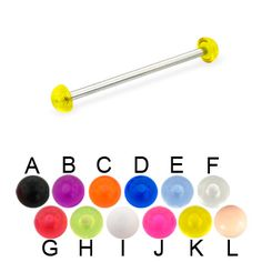 Long barbell (industrial barbell) with acrylic half balls, 12 ga.  #industrial #barbell #piercing #piercingjewelry #jewelry #bodypiercing #bodyjewelry ♥ $3.99 via OnlinePiercingShop.com
