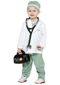 Kids Doctor Costume. Considering this for Halloween! Would use a black purse with a first aid sticker on it, and add a face mask, daughter has a toy first aid kit that could come in handy too!