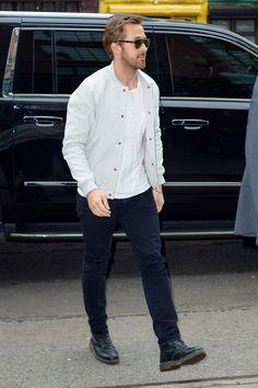 ryan gosling dr martens black jeans grey bomber white t shirt mens fashion