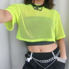Gender: Women Item Type: Tops Tops Type: Tees Material: Nylon Style: Streetwear Fabric Type: Woolen Sleeve Length(cm): Short Decoration: Hollow Out Clothing Length: Short Pattern Type: Solid Collar: O-Neck Sleeve Style: REGULAR Neon Outfits, Grunge Outfits, Dance Outfits, Girl Outfits, Fashion Outfits, Fishnet Shirt, Fishnet Top, Neon Shirts, Cute Fashion