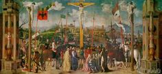 Michele Da Verona Crucifixion hand painted oil painting reproduction on canvas by artist Verona, Renaissance, Crucifixion Of Jesus, Jesus Christ, Italian Paintings, Catholic Art, Art Database, Oil Painting Reproductions, Bruges