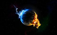 огонь, звезды, синий, Планета, пламя, 2560x1600