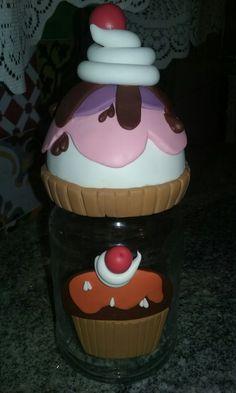 Vidro cupcake em biscuit