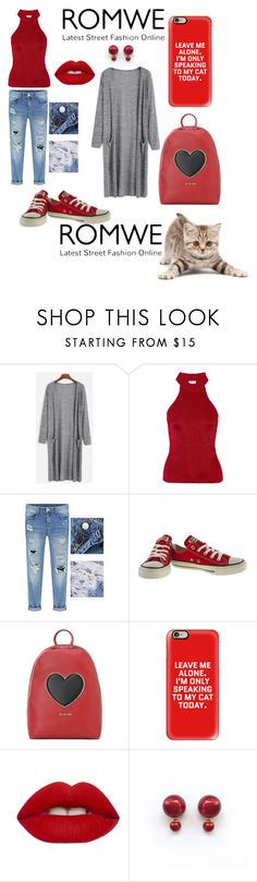 """""""ROMWE: Win! Grey Marled Knit Long Cardigan"""" by mandimwpink ❤ liked on Polyvore featuring Yves Saint Laurent, Converse, Love Moschino, Casetify and Lime Crime"""