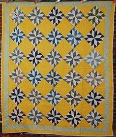 GORGEOUS Vintage 1910's Pinwheel Star Antique Quilt ~NICE YELLOW BACKGROUND!