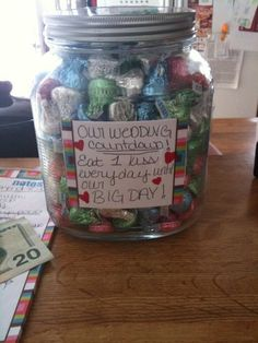 Fun way to countdown until your wedding day! :) My husband loved it!