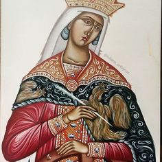 The icon of the Great of before gilding. Saint Katherine, Byzantine Icons, Orthodox Icons, Sacred Art, Alexandria, Christianity, Princess Zelda, Hand Painted, Drawings