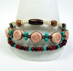 Three Strand Brown and Turquoise Bracelet with by MyStudio91, $29.00